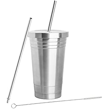 STAINLESS STEEL TUMBLER (16oz) with 2 Stainless Steel Straws, Cleaning Brush & Dual Layer Insulation - Ideal Travel Tumbler To Keep Your Hot and Cold Drinks At Temperature Longer