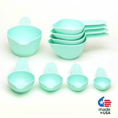 Pourfect 9-Piece Measuring Cup Set, Ice Blue