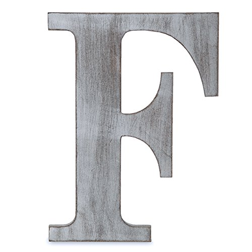 "The Lucky Clover Trading LBL14CG-F F Wood Block, 14"" L, Charcoal Grey Wall Letter, Gray"