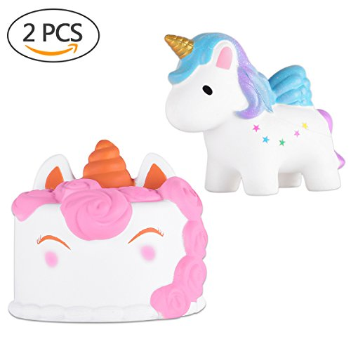acetek Squishies Unicorn Cake Jumbo Kawaii,2 pcs Squishy Toys Giant Cute Squishies Slow Rising Kids Toys Party Novelty Games Stress Relief Toy Hop Props, Decorative Props Large