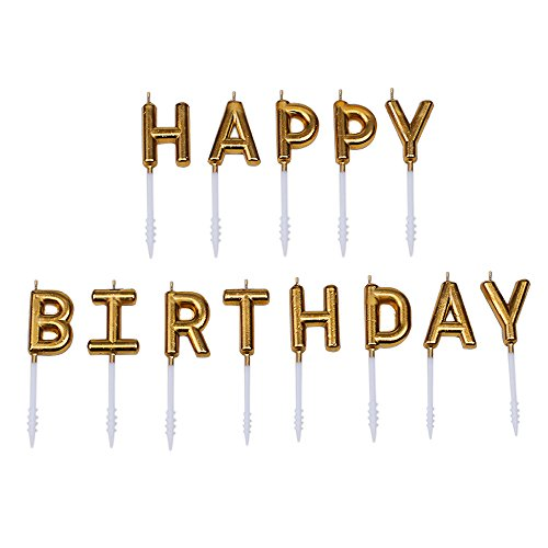 Willcan Gold color happy birthday candles,13 molded letter party time special day funny candles make a wish candles for adults and Kids brand -