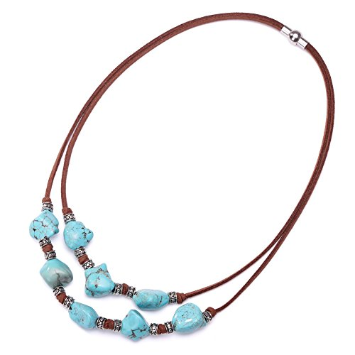 Jewelry Suede 18' Necklace (Yunhan Pearls 2 Strands Genuine Suede Cord Turquoise Choker Necklace Magnetic Clasp Jewelry for Women 18