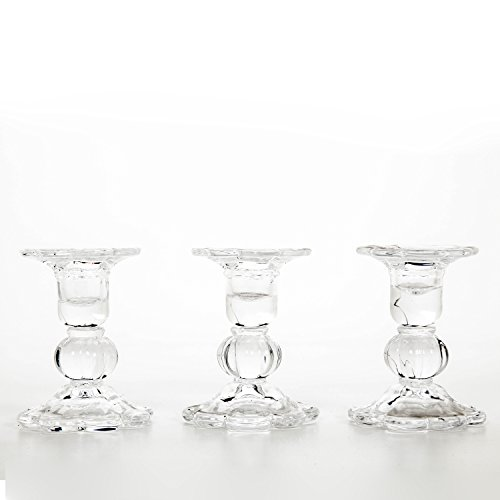 Hosley's Set of 3 Glass Taper Candle holders - 3.9