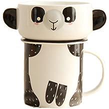Colias Wing Cute Panda Pattern Design 10 oz ceramic Tea Cup Coffee Mug Travel Mug with Lid & Bowl-Black