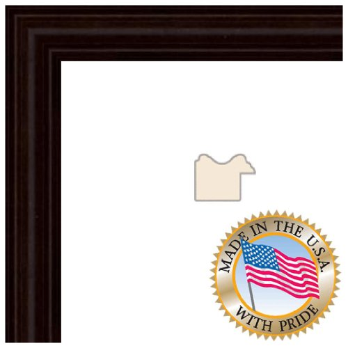 14x18 Walnut Stain on Hard Maple Picture Frame - 1'' wide with Regular Glass and Foam Backing