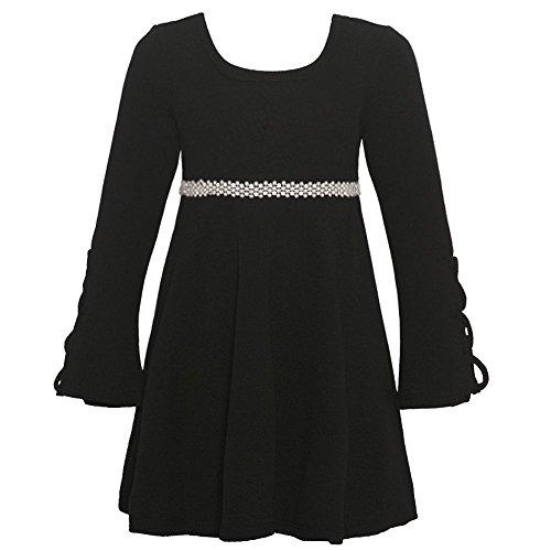 Little Girls Black Cord Laced Detail Long Sleeved Trendy Christmas Dress 5