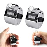 Golf Manual Hand Tally Palm Clicker Counter 9999 Max 4-Digit Click Push Button Value 2 Pack for Row, People, Golf, Sports (2 Pack-Silver Metal Counter)