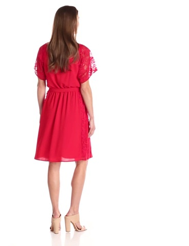 AGB Womens Night and Day Lace-Trim Dress