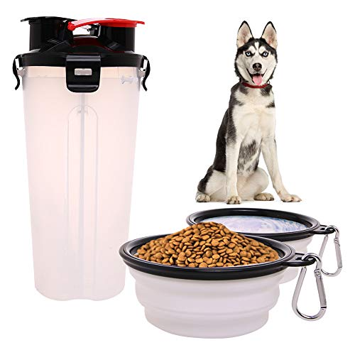 Dog Water Food Bottle for Walking Travelling Hiking Camping 2-In-1 Pet Food Container with 2 Collapsible Dog Bowls…
