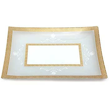 GAC Tempered Glass Tray Rectangular Glass Platter Break and Chip Resistant - Oven Safe - Microwave Safe - Dishwasher Safe Decorative Plate and Glass Serving Tray