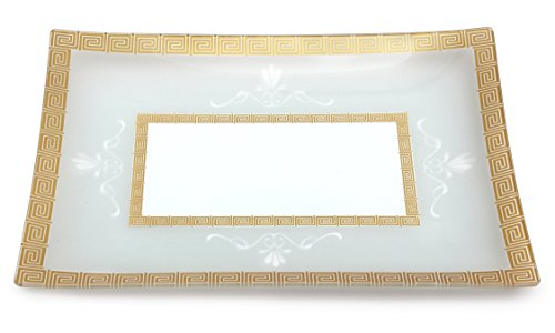 GAC Tempered Glass Tray Rectangular Glass Platter Break and Chip Resistant – Oven Safe – Microwave Safe – Dishwasher Safe Decorative Plate and Glass Serving Tray (Glass Tray Rectangular)