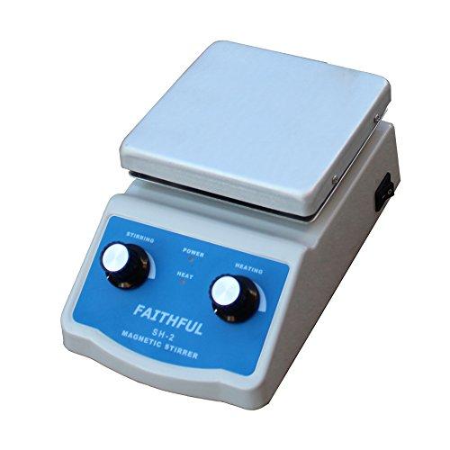 Laboratorio agitador magnético con calefacción, 12x 12cm Panel de aluminio, 0~ 1600RPM, 2L Volumen, revolviendo...