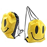VANKER 1Pc Yellow Cute Smile Face Girl Gym Swimming Clothing Shoes Towel Tote Storage Bag Backpack