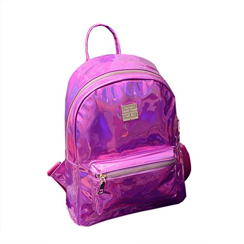 À Filles Backpack Dos Rose Portés Shouder Lanlan Satchel Sacs Femme Shiny Red Laser School Daypack Pu Black Main Les Hologram Sac 5x0IpIZ