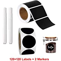 2 Rolls of Chalkboard Labels with 2 markers, Pantry and Storage Stickers for Jars, Pantry Labels for Jars, Mason, Spice, Glass, Cups, Containers, Canisters, Kitchen, Bathroom, waterproof