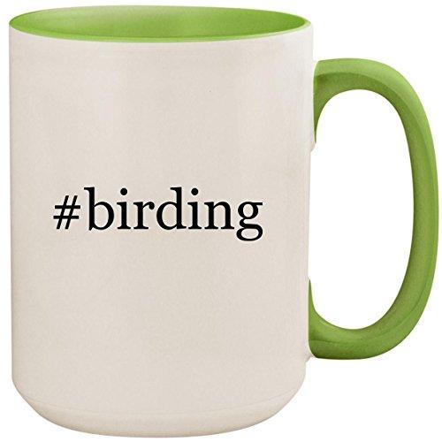 #birding - 15oz Ceramic Colored Inside and Handle Coffee Mug Cup, Light Green