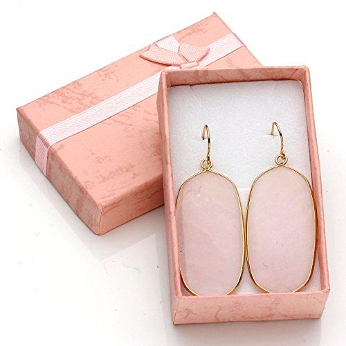 Top Plaza Womens Fashion Natural Gemstone Oval Rhombus Ear Hook Water Drop Ear Pendant Dangle Earring(Oval Rose Quartz) by Top Plaza (Image #4)