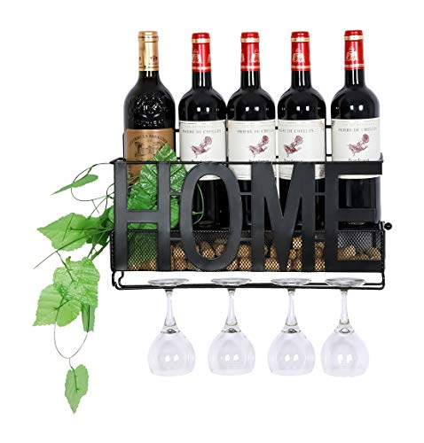 Wine Wall Metal Holder - PAG Wall Mounted Metal Wine Rack with Wine Glass Holder & Wine Cork Storage Cage, Black