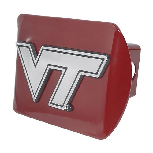 (Virginia Tech Hokies Burgundy Metal NCAA Trailer Hitch Cover Fits 2 Inch Auto Car Truck Receiver)