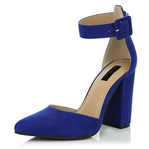 DailyShoes Women's Casual Pointed Toe Chunky Ankle Strap Buckle High Heels Sandals, Royal Blue Suede, 11 B(M) US