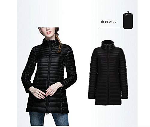 hiver 90 debout chaud canard duvet duvet veste Dotoo collier manteau de en long femmes blanc et noir automne 1vqABwx