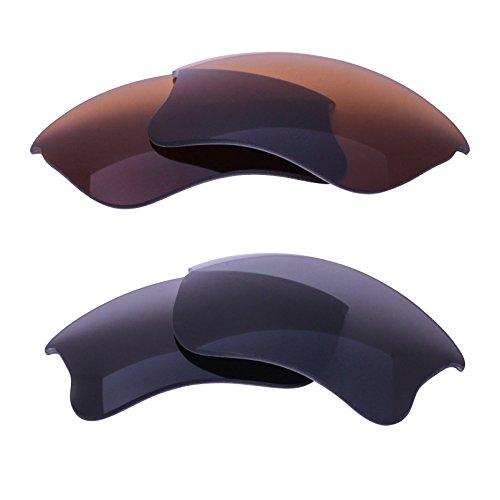 LenzFlip Lens Replacement Oakley FLAK JACKET XLJ - Basic Combo 2 Pk- Gray & Brown Polarized by LenzFlip