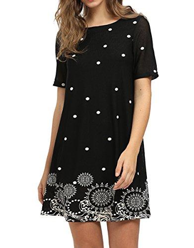 (Romwe Women's Short Sleeve Floral Print Loose Casual Tunic Swing Summer Shift Dress Black M)