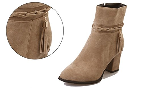 Winter Rough Heel Zehen Plattform Party BROWN NVXIE Stiefel Kurze Neue Strappy Herbst Damen Wildleder Spitz EUR40UK7 Fashion Martin Schuhe Tassel Stiefel Work Mid OwvFqgwU8x