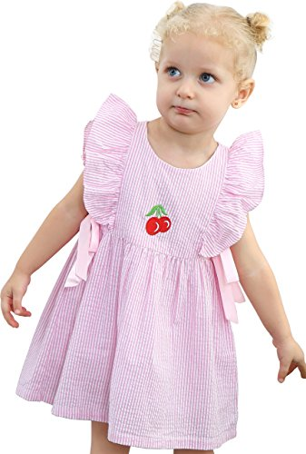 Lovely Embroidered - De-Lovely Baby Girl Dress Clothes - Embroidered Cute Cherries Boutique (3T, Pink)
