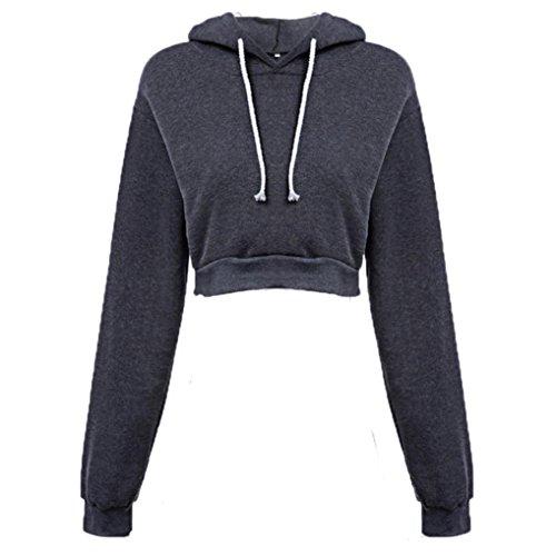 SKY Mujer Cuerpo corto decoración suéter de cobertura Hooded Loose Pullover Long Sleeve Brief Paragraph Hoodie Tops Gris oscuro