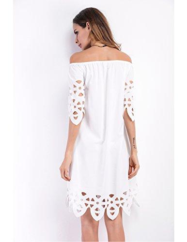 MODETREND Mujer Casual Vestidos Suelto Manga Corta Off Shoulder de Hueco Vestido por la Rodilla Blanco