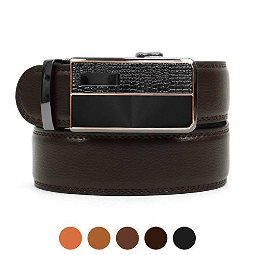 Men's Auto Lock Buckle Genuine Leather Waist Strap Dress Belt