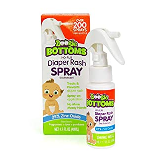Diaper Rash Cream Spray by Boogie Bottoms, Travel Friendly No-Rub Touch Free Application for Sensitive Skin, from The Maker of Boogie Wipes, Over 200 Sprays per Bottle, 1.7 oz
