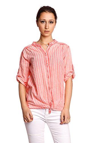 Abbino 8098 Blusas Tiras y nudos Tops para Mujer - Hecho en ITALIA - 6 Colores - Entretiempo Primavera Verano Otoño Mujeres Elegantes Camisas Delicado Moderno Oficina Fiesta Fashion Rebajas Coral Rojo