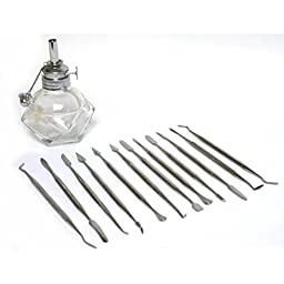 12 Jewelers Wax Carvers & Alcohol Lamp Carving Tools