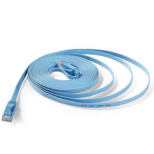Hexagon Network - Ethernet Cable Cat6 Flat 25ft Blue, Network Cable Cat 6 Flat Slim Ethernet Patch Cable, Internet Cable With Snagless RJ45 Connectors - 25 Feet (Blue Flat Cable)
