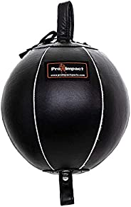 Pro Impact Genuine Leather Double End Boxing Punching Bag - Speed Striking & Dodge Training Ball - Include