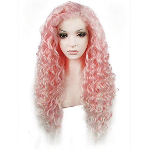 Ebingoo Pink Lace Front Wig with White Tips for Women Long Kinky Curly Style Soft Synthetic Lace Wigs Heat Resistant Fiber for Halloween Cosplay Party Daily (Pink)