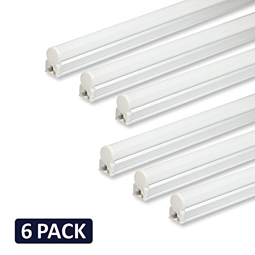 4' 20w Single Light - (Pack of 6) Barrina LED T5 Integrated Single Fixture, 4FT, 2200lm, 6500K (Super Bright White), 20W, Utility Shop Light, Ceiling and Under Cabinet Light, Corded electric with built-in ON/OFF switch