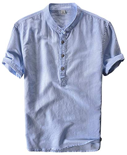 utcoco Men's Retro Chinese Style Short Sleeve Linen Henley Shirts (Large, Light Blue)