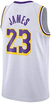 unisex senza maniche T-shirt ricamate maglia da basket swingman maglie abbigliamento sportivo colore : giallo, taglia: Small Shelfin Maglie da basket da uomo LeBron James Lakers No.23