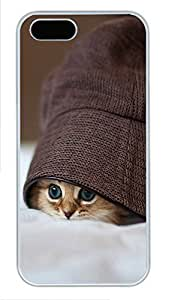 iPhone 5 5S Case Cute Kittens Hats Eye PC Custom iPhone 5 5S Case Cover White