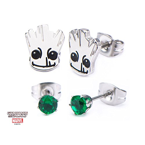 Golden Age Green Lantern Costume (Marvel Guardians of the Galaxy Groot Steel Post Stud Earring Set w/Gift Box by Superheroes Brand)