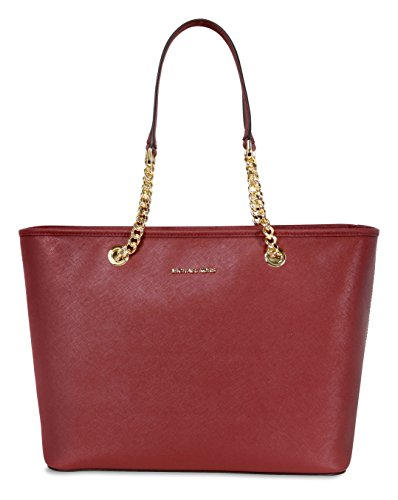 ad98b7f902b7 Michael Kors Jet Set Travel Chain Leather Tote in Brick by MICHAEL Michael  Kors