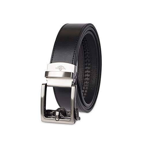 Dockers Men's 1.3 in. Wide Perfect Adjustable Click to Fit Belt, Black Square, Extra Large - Mens Leather Belt Dockers