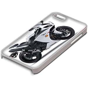 Motocicleta 10009, Custom Design Blanco PC Ultradelgado Caso Duro Carcasa Funda Protección Tapa Hard Case Cover con Diseño Colorido para Apple iPhone 5 5S.