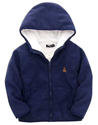 ZETA DIKES Boys Fleece Jacket Long Sleeve Hoody Warm Cozy Coat Zip up Outfit for 3-4T Girls