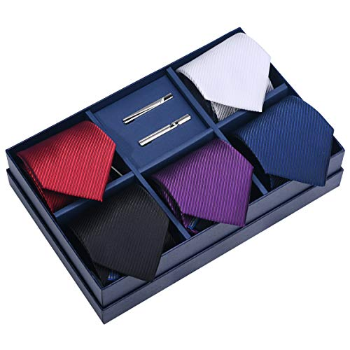 - 5 Pcs Tie Set & 2 Tie Clip Pure Color with Gift Box for Male (pure color)