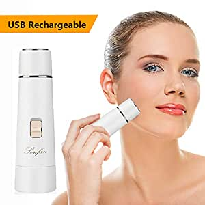 Facial Hair Removal for Women Rechargeable - 2019 USB Rechargeable Hair Remover Trimmer for Face, Armpit, Chin and Full Body, Best Gift for Women-White