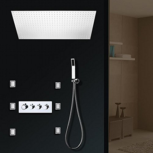 Gowe 5001000mm Large Rainfall LED Shower Head High Flow 50L Hot Cold Conceal Shower Mixer Body Jets Massage Shower Set 5